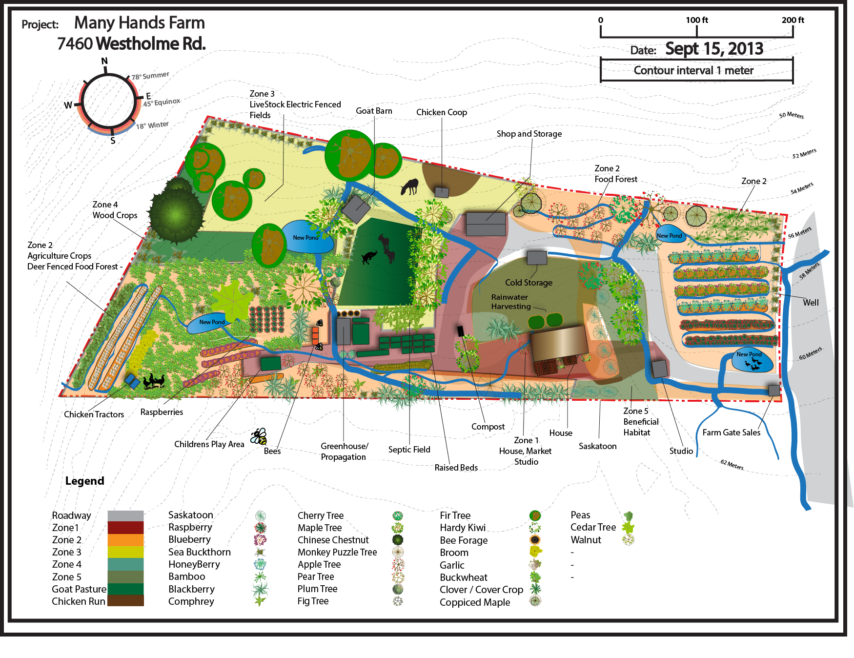 Permaculture design map many hands farm for Garden design map